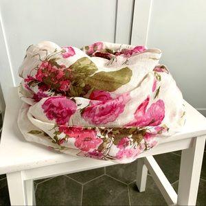 H&M Floral Print Linen Blend Scarf